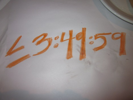 My Race Goal on Macaroni Grill Paper Table Cloth