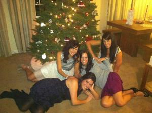Corny Family Photo with Friends at the Christmas Party Saturday night